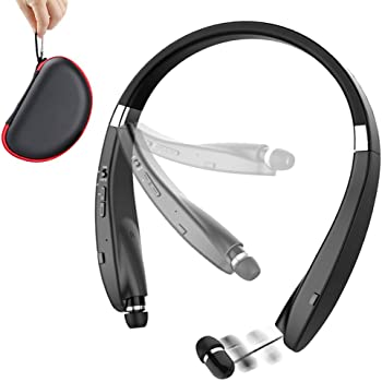 Foldable Bluetooth Headset, Beartwo Lightweight Retractable Bluetooth Headphones for Sports&Exercise, Noise Cancelling Stereo Neckband Wireless Headset (with carry case)
