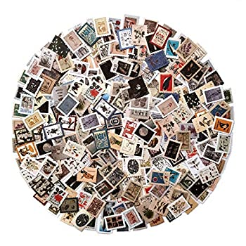 JTHRA 276 Pcs Vintage Postage Stamp Flake Stickers Set Animal Plant Assorted Designs Embellishments Stamps Stickers for Scrapbook Travel Diary Album Stationery and DIY Craft Daily Planner