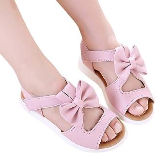 Zehui Princesa Zapatos de Bow Hollow Zapatos de Playa Antideslizantes Bebé Niña Sandalias, Rosado, 26#