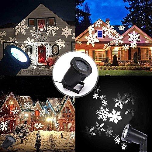 YUMOMO Proiettore Fiocchi di Neve, Faretti LED Illuminazione Luci Natale Esterno, Proiettori Luce Natalizie, Decorazione della Parete