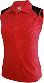 Monterey Club Ladies Dry Swing Bold Flower Emboss Contrast Sleeveless Shirt #2447