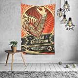 Art Wall Hanging Home Decor Background Wall Blanket Social Distortion 3D Colorful Tapestry 60X40inch