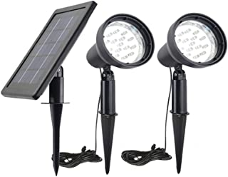 Solar Powered Spot Lights Outdoor Waterproof 2 in 1 Bright Solar SpotLights Power Adjustable for Flag Yard Flagpole Landsc...