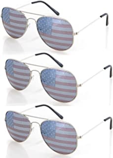 USA America Silver Aviator Sunglasses - Great Accessory for 4th of July - Set of 3