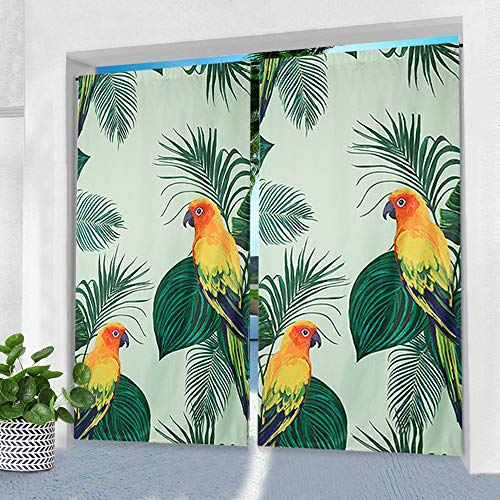 Pro Space Indoor/Outdoor Curtain for Patio - 50' x 84' Parrot Printed Waterproof Window Drape Rod Pocket Top Curtains Panel for Pergola, Porch or Balcony