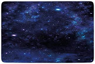 Bathroom Bath Rug Kitchen Floor Mat Carpet,Sky,Abstract Astronomy Themed Nebula Illustration with Stars Science Inspired Universe,Pink Blue Black,Flannel Microfiber Non-Slip Soft Absorbent