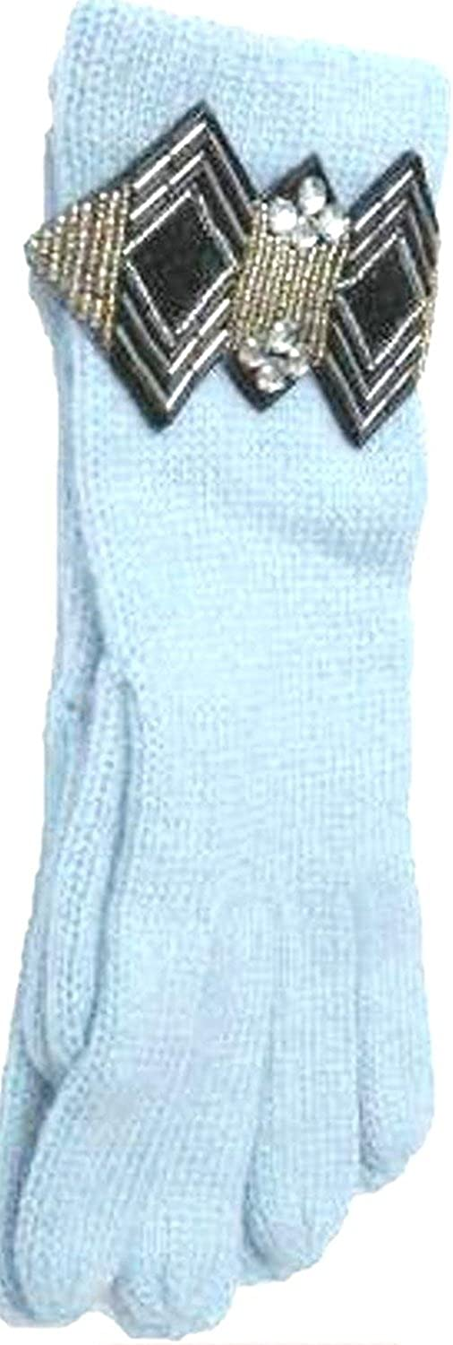 Imported Blue Color Angora Gloves Trimmed with Art Deco Crystal Wrist Band