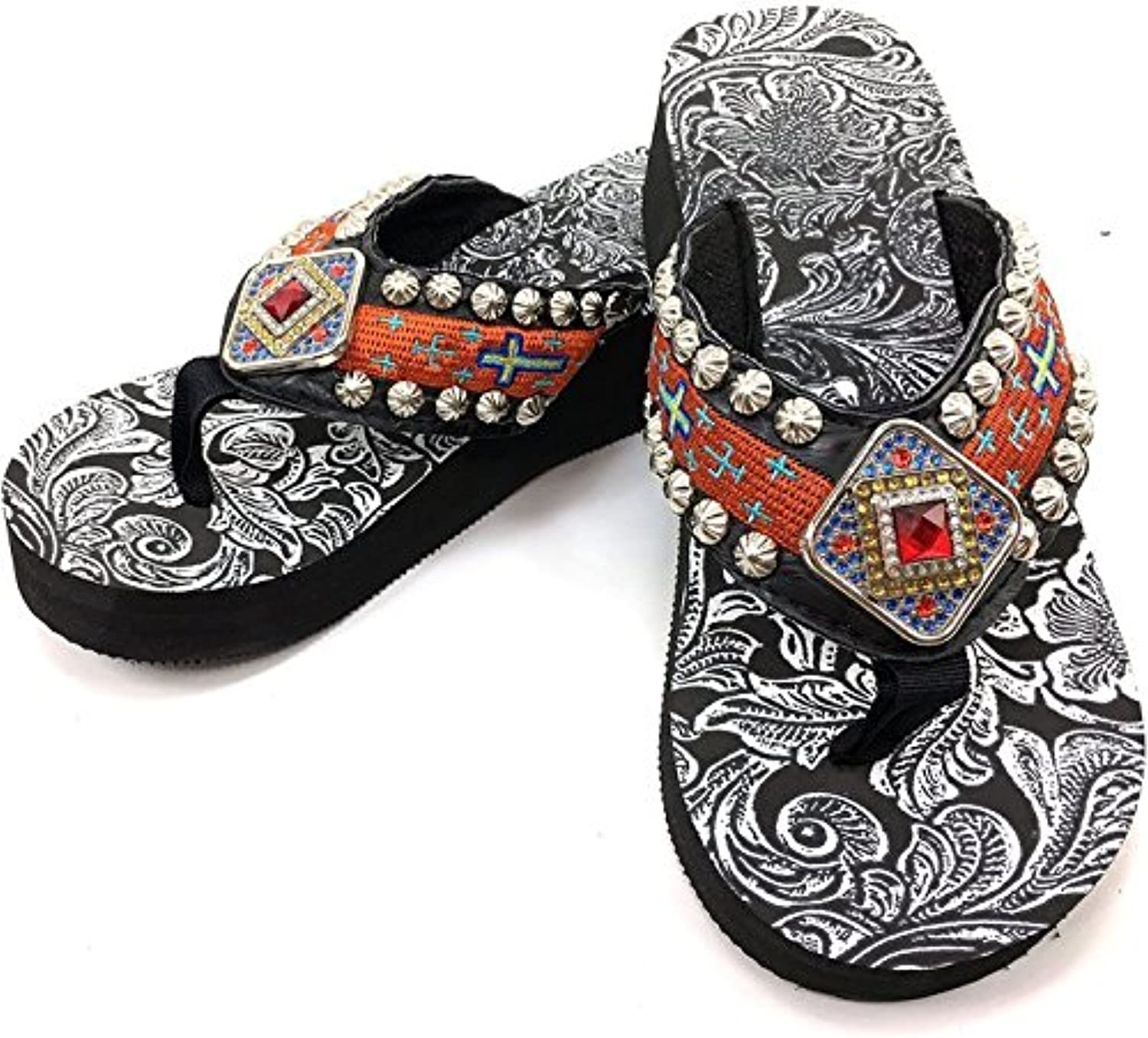 Western Peak Women's Concho Rhinestones and Stud with Embroidery orange PU Sandal Flip Flop
