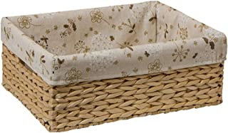 Multifunctional Storage Basket, Rectangular Woven Seaweed Storage Box with Handle And White Lining, Large Grass Storage Basket Storage Box (Size : S)