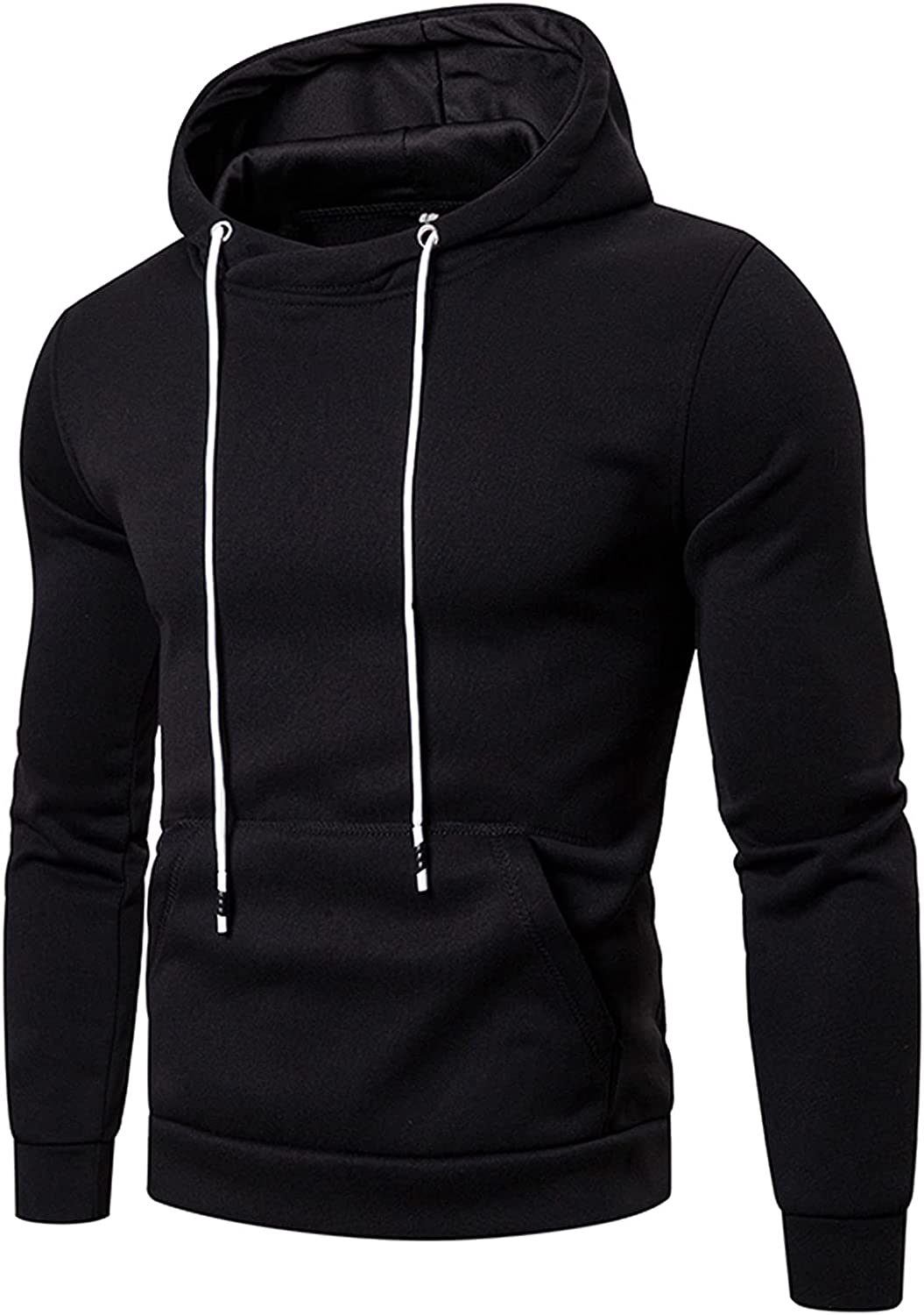 WUAI-Men Gym Workout Active Hoodie Sweatshirt Long Sleeve Drawstring Casual Lightweight Hooded Pullover with Pockets