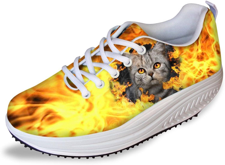 Classic Cat Print Women Fitness Light Walking Sneaker Wedges Platform shoes