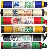 BUDDHAFIGUREN Juego de 6 varitas de incienso tibetano: Buda de la medicina - Jambala - Kalachakra - Vajrakilla - Mahakala - Guru Padmakara. Vienen con bolsa y colgante de la suerte.