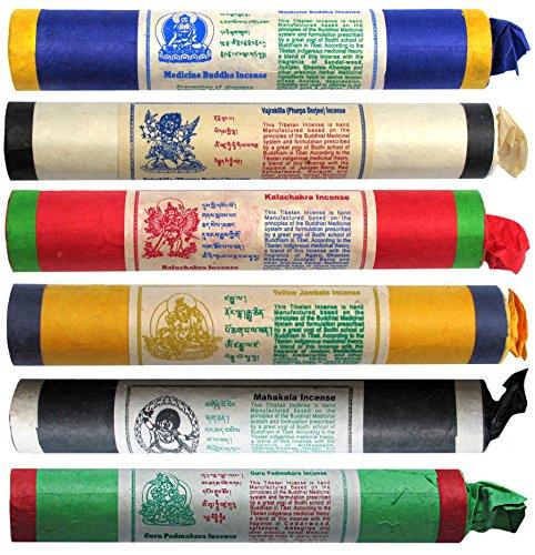 BUDDHAFIGUREN Juego de 6 varitas de incienso tibetano: Buda de la medicina - Jambala - Kalachakra -...