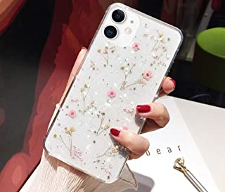 Bling Case for iPhone 11 Flower Case,Girls Women Sparkly Shiny Glitter Bling Crystal Clear Soft Flexible Rubber Gel TPU Pressed Dry Real Flowers Case Floral Cover for iPhone 11 Silicone Case,Pink