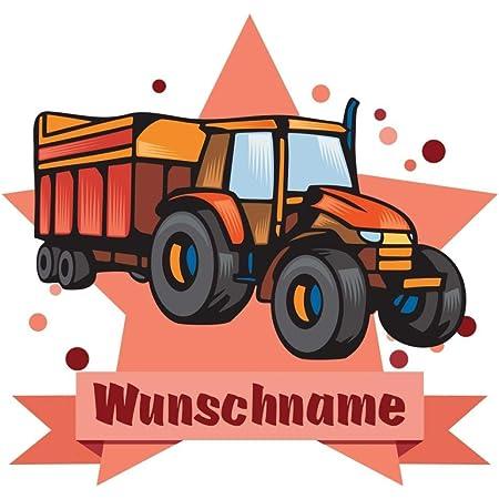 Samunshi Traktor Aufkleber Mit Namen Autoaufkleber Namensaufkleber Kinder In 7 Größen 10x8 8cm Mehrfarbig Küche Haushalt