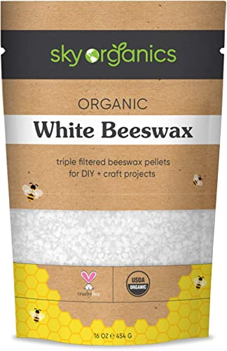 Organic White Beeswax Pellets (1lb) by Sky Organics 100% Pure USDA Organic Bees Wax Pesticide-free Triple Filtered, E...