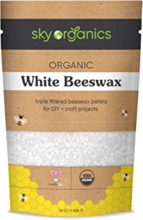Organic White Beeswax Pellets (1lb) by Sky Organics 100% Pure USDA Organic Bees Wax Pesticide-free Triple Filtered, Easy M...