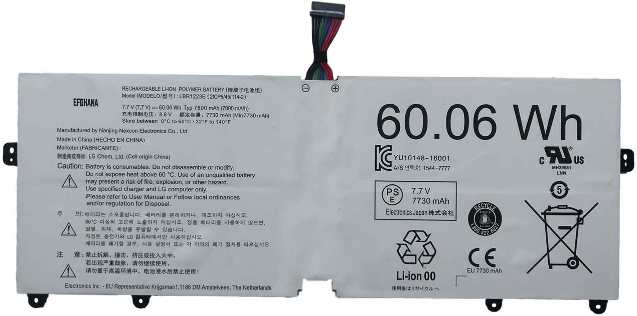 Max 75% OFF efohana LBR1223E Laptop Battery Replacement Gram 13Z 2018 Max 82% OFF for LG