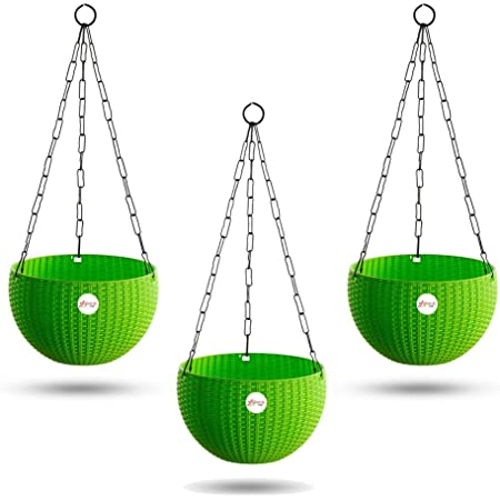 Kraft Seeds Hanging Planter Euro Elegance Round Solid Look and Feel Pots for Home & Balcony Garden 17.5cm Diameter (Pack of 3) Green