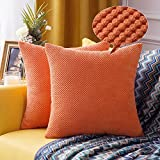 MIULEE 2er Set Granulat Kissenbezug Ananas Weiches Massiv Dekorativen Quadratisch Überwurf Kissenbezüge Kissen für Sofa Schlafzimmer Auto 16'x16', 40 x 40 cm Orange