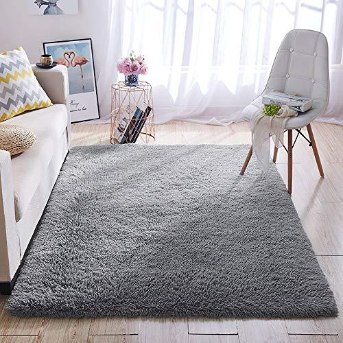 Tappeto peluche LNGVBF, soffice tappeto, zerbino, morbido tappeto antiscivolo, tappeto per camera da letto, adatto per la decorazione domestica di soggiorno e camera da letto (grigio, 120x160cm)