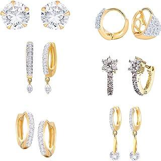 b18476eb5 Zeneme Combo of Trendy American Diamond Earrings Jewellery For Girls and  Women