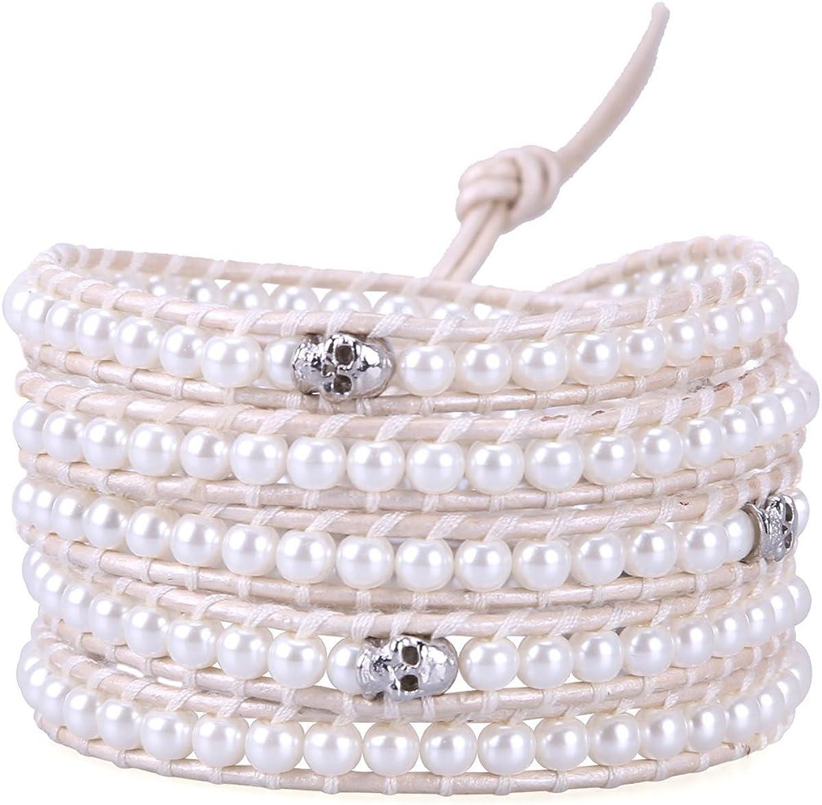 KELITCH Natural Gray Pearl Beaded 5 Wrap Bracelet Handmade Fashion Women Jewelry