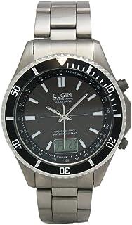 [エルジン]ELGIN 腕時計 メンズウォッチ 電波 ソーラー オールチタン 100M防水 ブラック FK1396TI-BP メンズ