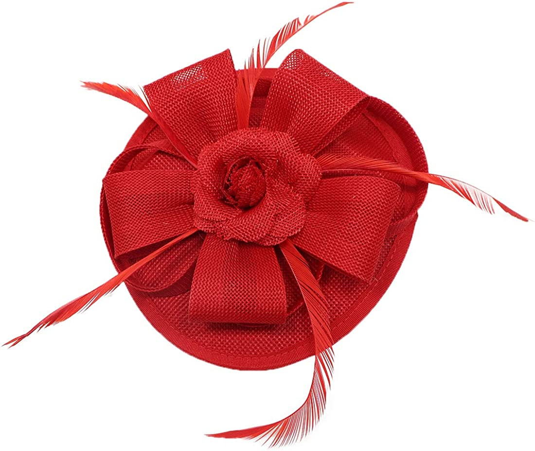 Coolwife Fascinators Pillbox Hat Sinamay Feather Flower Derby Ball Wedding Church Party Hair Clip