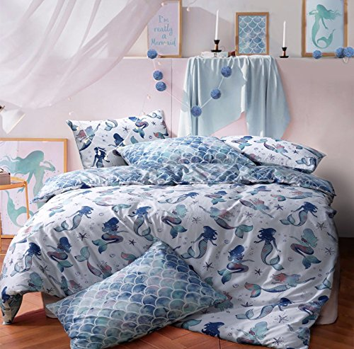 Sleepdown Mermaid Queen Reversible Qulit Duvet Cover Set Easy Care Anti-Allergic Soft & Smooth with Pillow Cases (Single)
