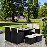 RayGar Deluxe 9 <span class='highlight'>Piece</span> 8 Seater Rattan Cube Dining Table <span class='highlight'>Garden</span> <span class='highlight'>Furniture</span> <span class='highlight'>Patio</span> Set (Black)