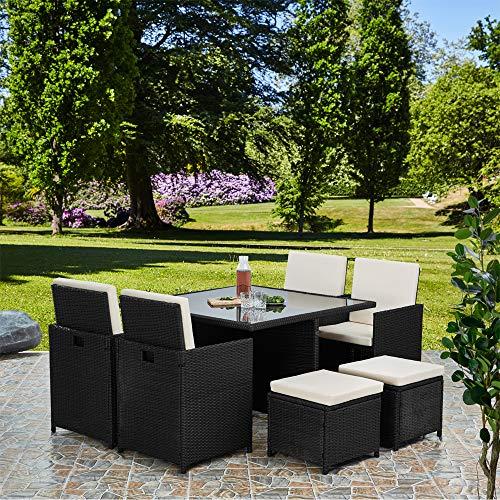 RayGar Deluxe 9 Piece 8 Seater Rattan Cube Dining Table Garden Furniture Patio Set (Black)