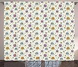 N\A Cortinas de búhos, ilustración de pájaros en pequeñas Ramas de árboles con Setas, nueces y Hierbas, patrón para niños, Cortina para Dormitorio, Comedor, Sala de Estar, 2 Paneles, Multicolor