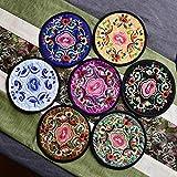 XUSHEN-HU 10 unids/Set Redondo Bordado Tela Mesa de Comedor placemat Coaster Vintage Floral diseño Cocina Accesorios Bebidas Taza tapetes Bar