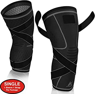 Knee Brace Compression Sleeve with Strap for Best Support & Pain Relief for Meniscus Tear, Arthritis, Running, Basketball, MCL, Crossfit, Jogging and Post Surgery Recovery for Men & Women