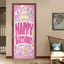 Kids Birthday Decal for Home Decoration Cartoon Seem Party Image Balloons Boxes Clouds Cake Celebration Image Print Funny Sticker Light Pink W23.6 x H78.7 INCH