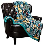 Chanasya Gold Fox Lush Nature Vibrant Color Print Gift Throw Blanket - Plush Sherpa Microfiber Throw for Birthday Gift Kids Bed and Couch (Queen) Teal Blue