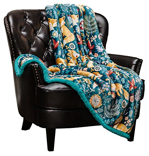 Chanasya Gold Fox Lush Nature Vibrant Color Print Gift Throw Blanket - Plush Sherpa Microfiber Throw for Birthday Gift Kids Bed and Couch (50x65 Inches) Teal Blue