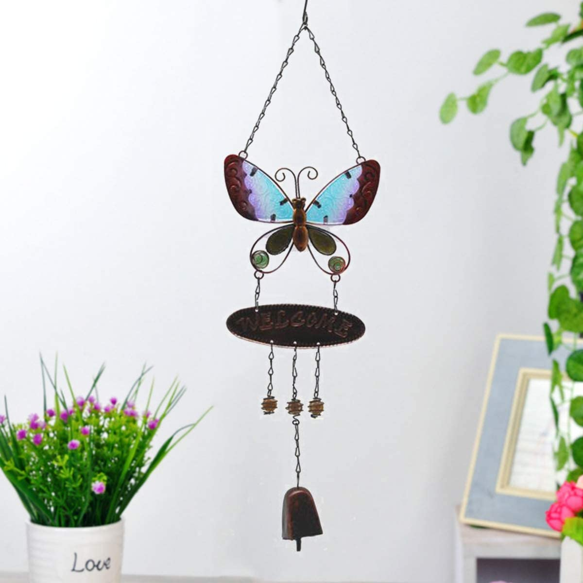 JOXJOZ Butterfly Wind Chimes Outdoor/Indoor Metal & Stained Glass Wind Chime Wall Hanging for Home,Party,Festival Decor,Garden,Yard Decoration,Gift for Mom and Grandma (Blue)