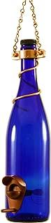 Blue Ridge Mountain Gifts - Wine Bottle Bird Feeder 25 Ounce Seed Capacity Bird Feeders for Outside Patio or Garden Décor Variety of Colors Handmade (Cobalt Blue & Copper)