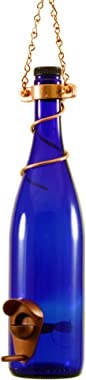Blue Ridge Mountain Gifts - Wine Bottle Bird Feeder 25 Ounce Seed Capacity Bird Feeders for Outside Patio or Garden Décor Variety of Colors Handmade (Cobalt Blue & Copper)