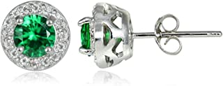 Sterling Silver Choice Of Birthstone Colors & White Topaz 5mm Halo Stud Earrings