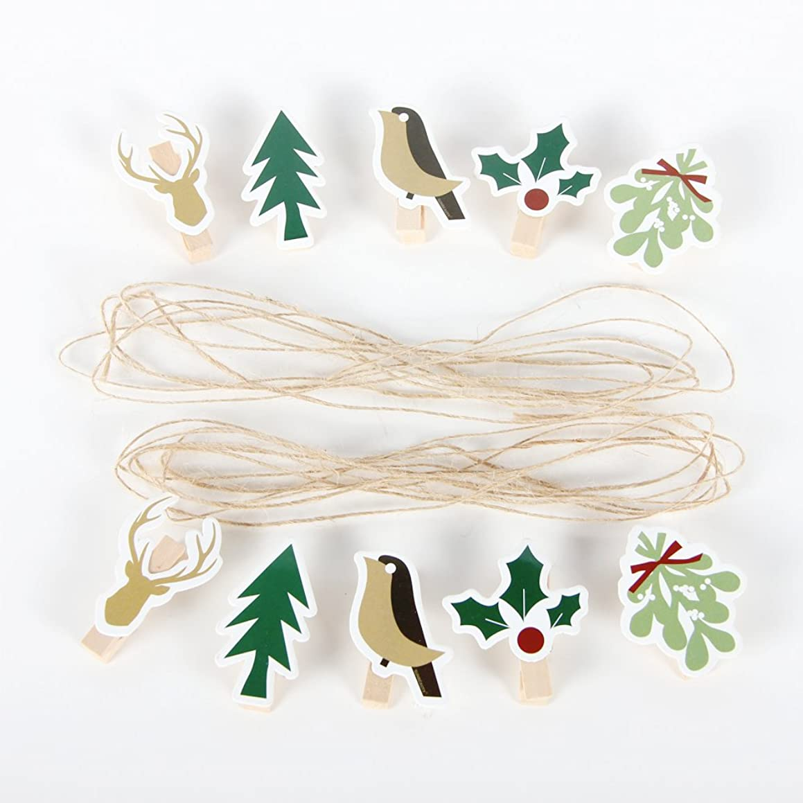 PAPER JAZZ Christmas Wooden Clips picture card hanger Garland Burlap Bunting Banner Xmas Holiday Party Props Fireplace Decorations