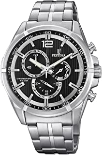 Festina Men's Black Dial Stainless Steel Band Watch - F6865/2