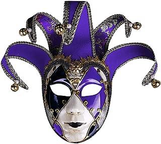 Erwazi Full Face Venetian Masquerade Mask, Hand Painted Joker Jester Decorative Art Mask Resin Music Mardi Gras Wall Easter Decoration Party Halloween Costume Mardi Gras Mask Gift