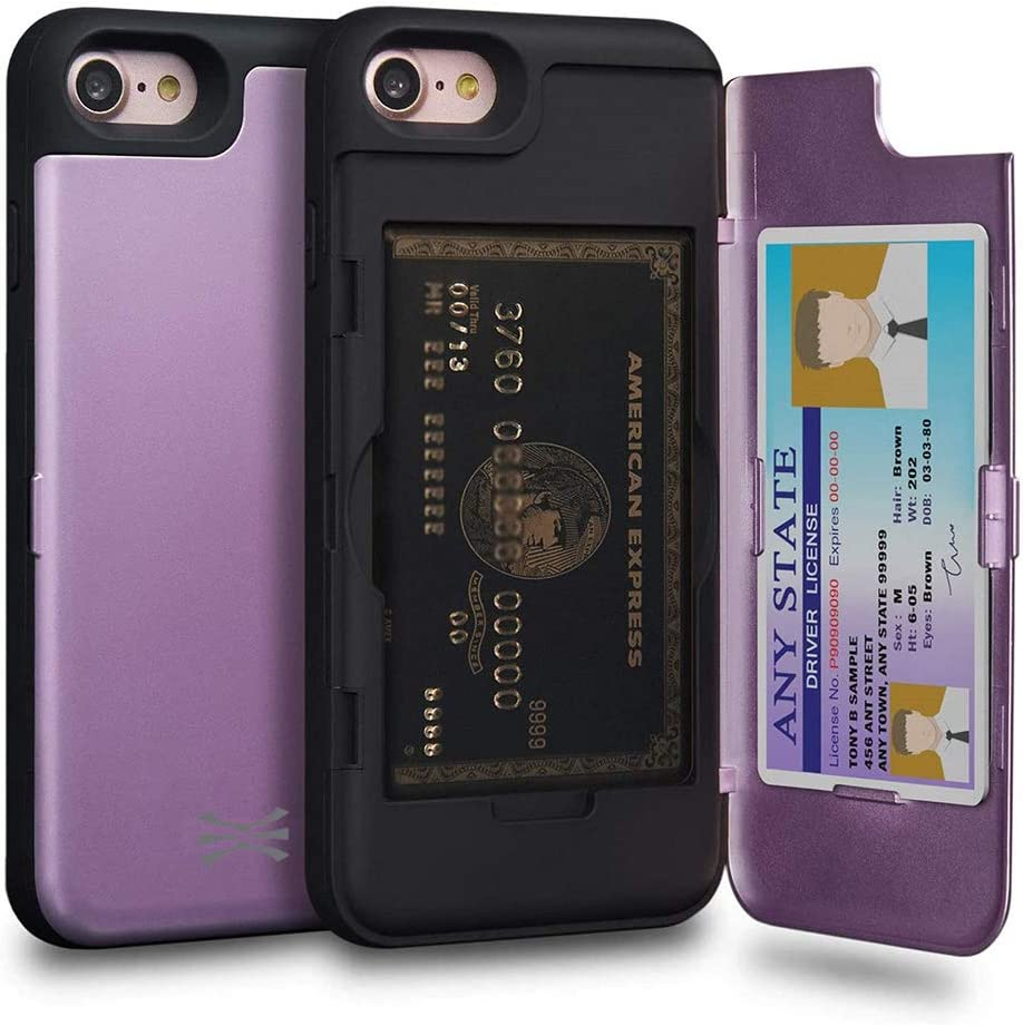 TORU CX PRO Compatible with iPhone SE 2020/iPhone 8/iPhone 7 Wallet Case - Protective Purple Dual Layer with Hidden Card Holder, ID Slot Hard Cover & Mirror - Lavender