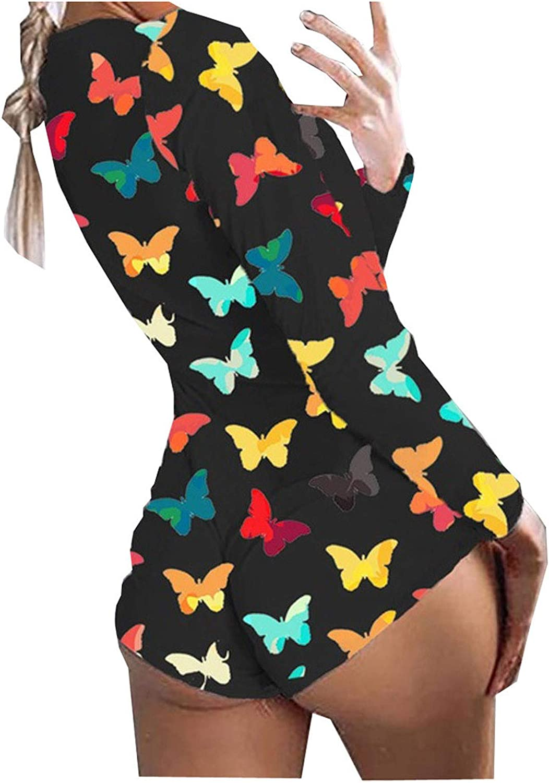 Bodysuit for Women Jumpsuit,Pajamas Homewear Colorful Butterfly Printing Back Flap Bodysuit Playsuits Rompers Sleepwear