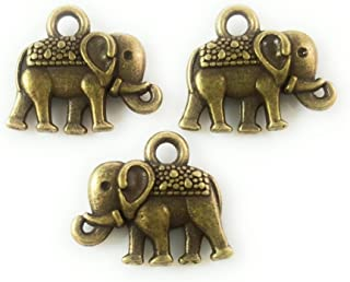 25pc Antique Brass Elephant Charms for Jewelry Making, Bracelets- Lead Free, Nickel Free (14mm)