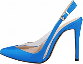 Wotefusi Women Summer Transparent Splicing Close Toe Ankle Strap Party Club Sandals Blue 7B(M) US
