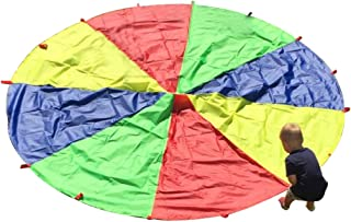 HAPPYMATY Parachute for Kids with Handles 13ft Rainbow Umbrella Large Outdoor Indoor Tent Cooperative Yard Play Games Toys